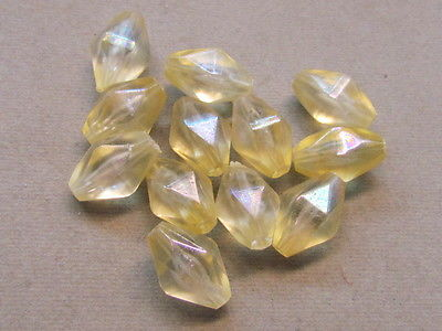 10 Light Yellow FAceted AB Finish 16x10mm Acrylic Beads(G113D38)