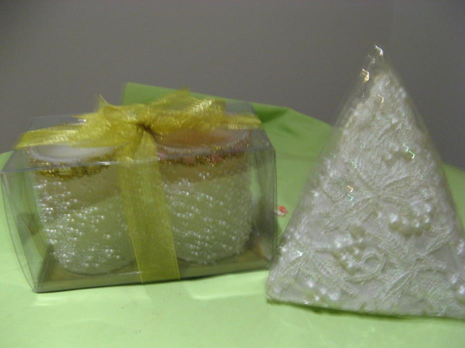 Romantic Embellished Pyramid Wedding Candle & 2 Embellished Votives All New