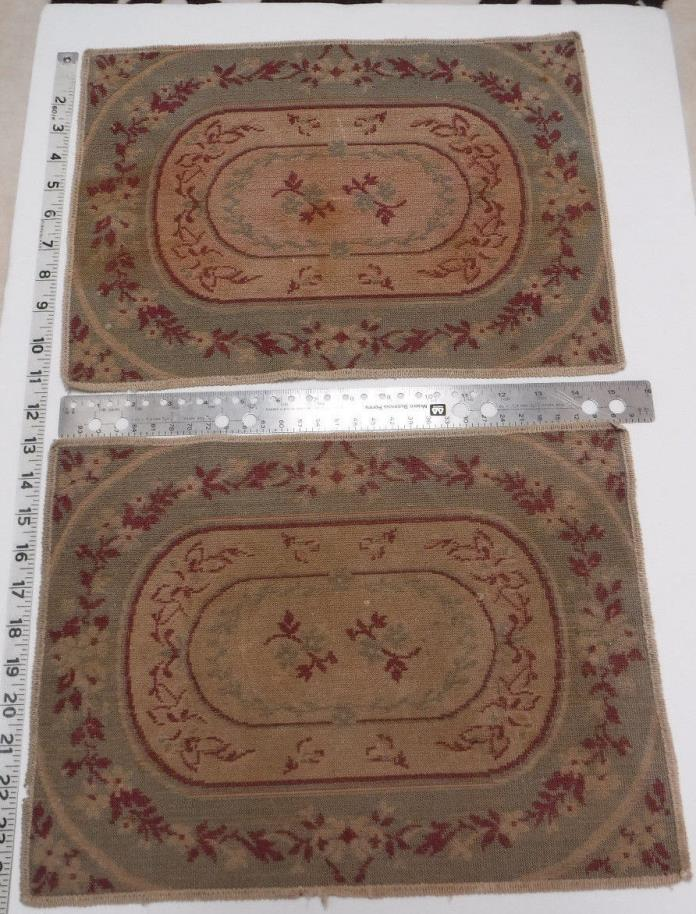 VINTAGE 1940's Green/Rose Coasters & Placemats (set of 6)