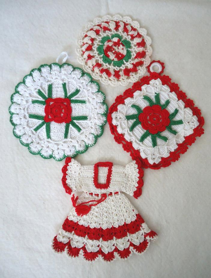 4 VINTAGE CROCHETED POTHOLDERS-RED WHITE GREEN