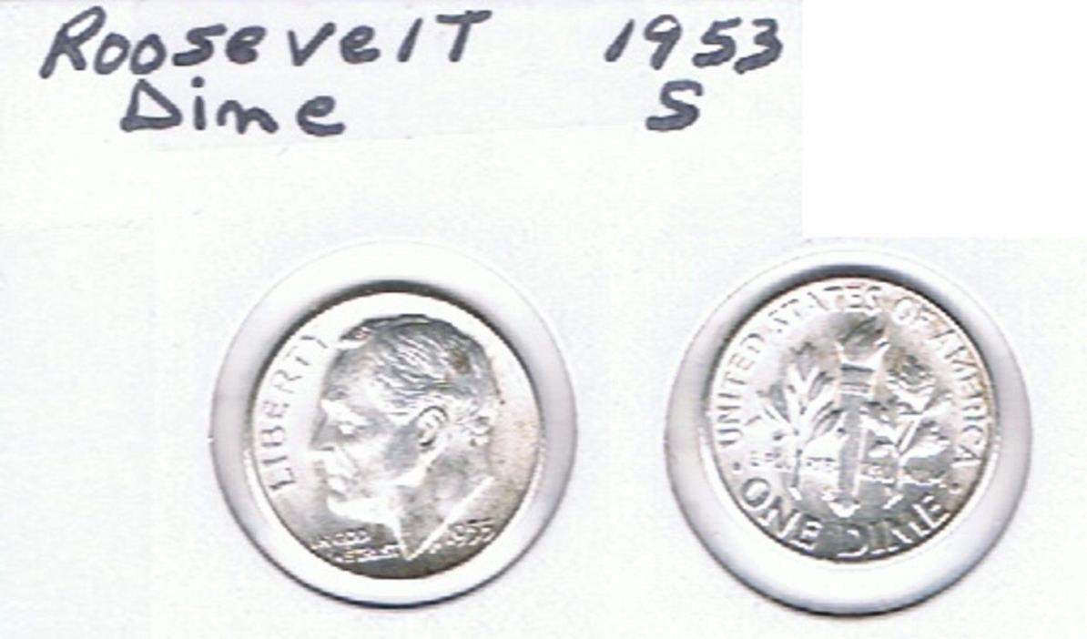 Roosevelt Dime 1953 S  Circulated See Scan.