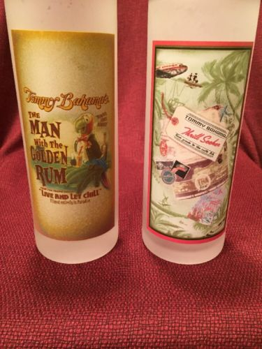 Lot Of 2 Tommy Bahama Frosted Barware Highball Tumbler Golden Rum, Thrill Seeker