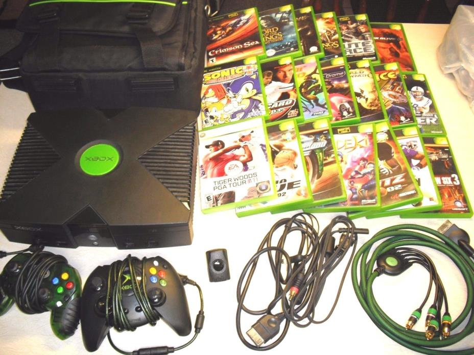 Microsoft Xbox Original Edition Black Console Game System - 18 GAMES - DVD CARD