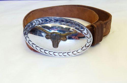 Vintage Longhorn Buckle Embossed Leather Cowboy Belt 34