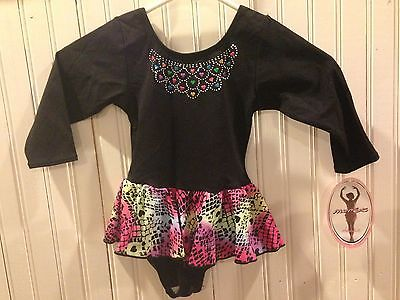 NWT New Jacques Moret Girls Long Sleeve Leotard Dance Gymnastics Heart XS 4/5