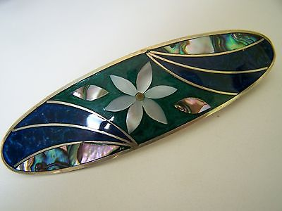 Vintage MEXICO Silver Inlay Barrette MOP Abalone Lapis White Flower