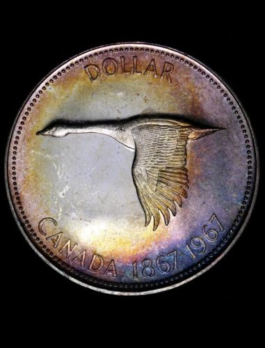 1967 Canadian Silver Dollar Flying Goose Beautiful Rainbow Colors GEM/BU awesome
