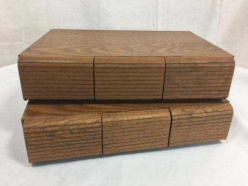 Vtg LOT 2 Audio Cassette Tape Cabinets FAUX WOOD GRAIN Storage Box 3 Drawer Case