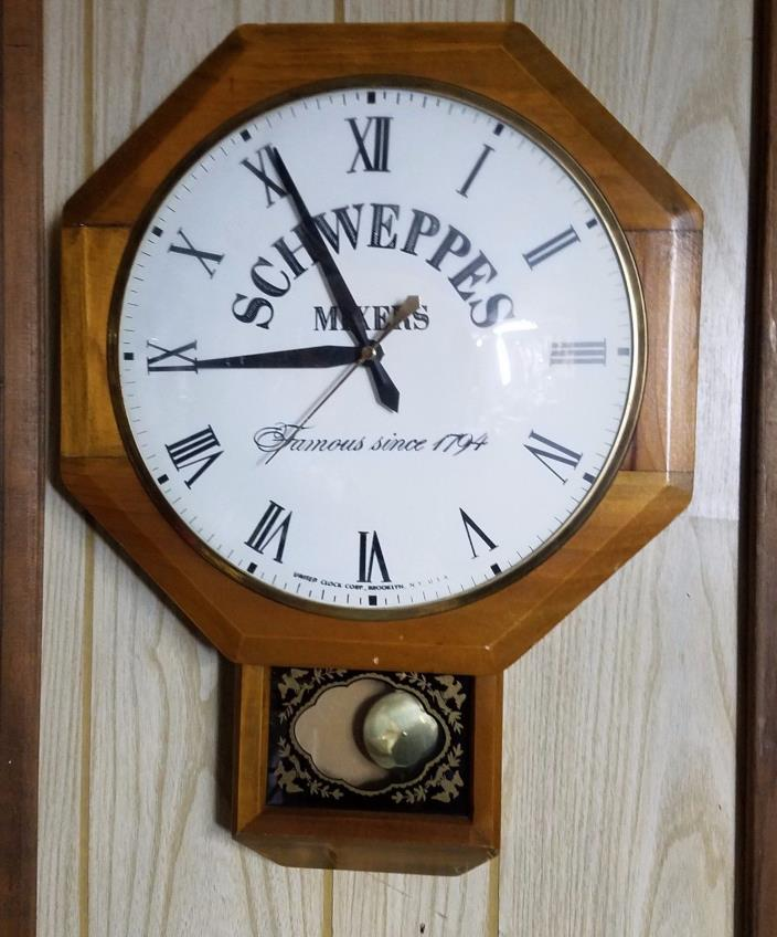 Vintage Schweppes Mixers Electric Bar Wall Clock - United Clock - Works $Reduced