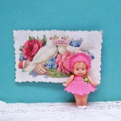 * Kewpie * Doll ~ 2 1/2  Inch Celluloid Crepe Paper Clothes Japan Heart Marked