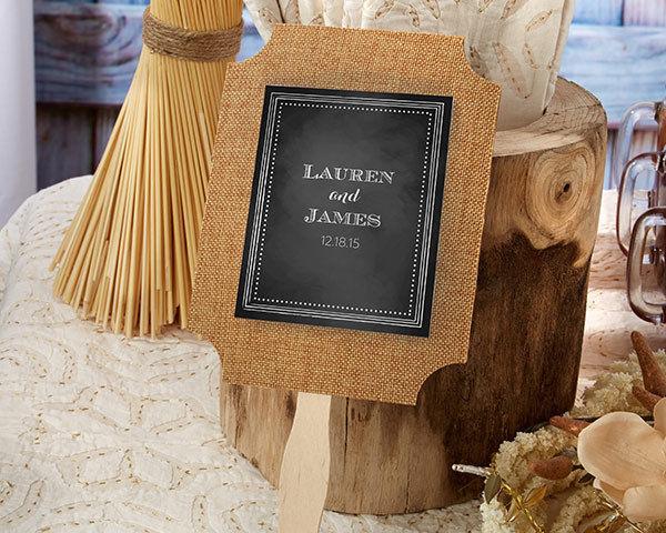 24 Personalized Burlap Hand Fans Rustic Summer Wedding Favors Lot Q35955