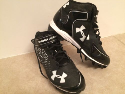 Men's Under Armour Football Cleats 9 Black Mid Rubber Shoes
