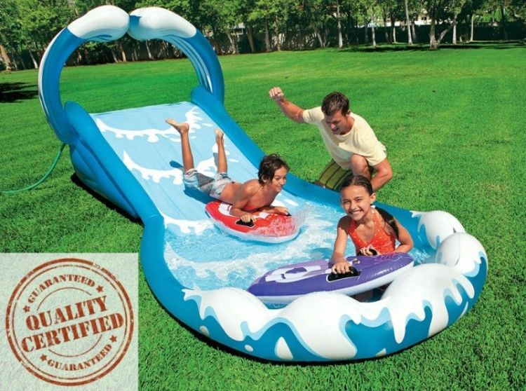 Surf Water Slide Inflatable Kids Outdoor Slip Ride Pool Play Summer Fun Center