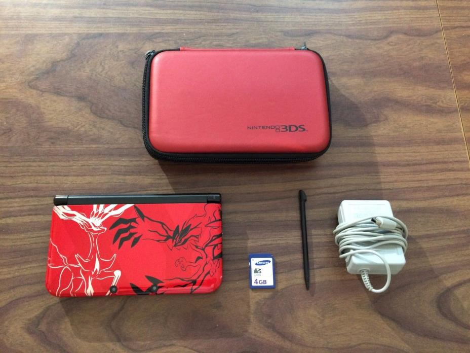 Nintendo 3DS XL Pokemon XY Theme Limited Edition Red System Bundle + 4 GB SD