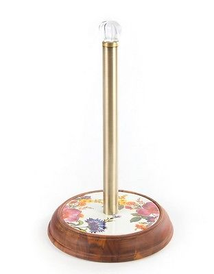 MacKenzie-Childs Flower Market Wood Paper Towel Holder - White
