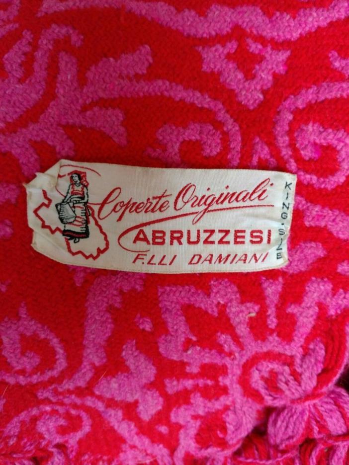 Coperte King Abruzzesi F.Lli Damiani Red Pink Fringe Woven Italian Bedspread