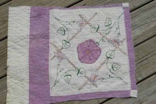 Antique Lavender Applique Morning Glory Quilt Cutter Quilt Piece Crafts