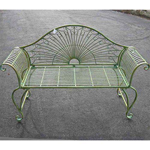 Garden Bench Outdoor Patio Porch Yard Seating Settee Metal Antique Green