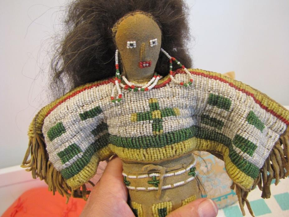 CROW DOLL ,HUMAN HAIR BEADED DRESS ,BOOTS,UPPER BLOUSE, SEEN ON THE ROAD SHOW