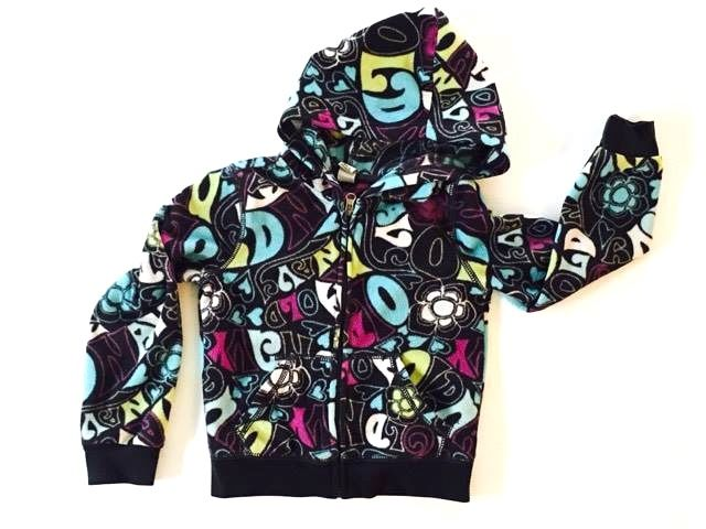 Girls Size: XS (5) OLD NAVY Bubble Lettered Full Zip-Up Hooded Sweatshirt