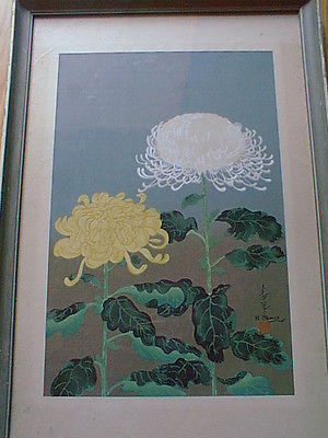 Chrysanthemum by Ohno Bakufu, Leschinsky Studio, Grand Island, NEB, Framed, Rare