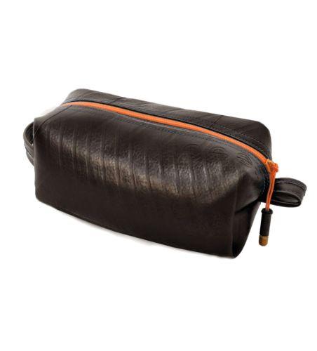 Upcycled Truck Inner Tube Toiletry Bag (Orange)