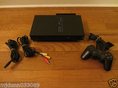 USED Official Sony Playstation 2 PS2 Black Console SCPH-39001/N Bundle - WORKS!