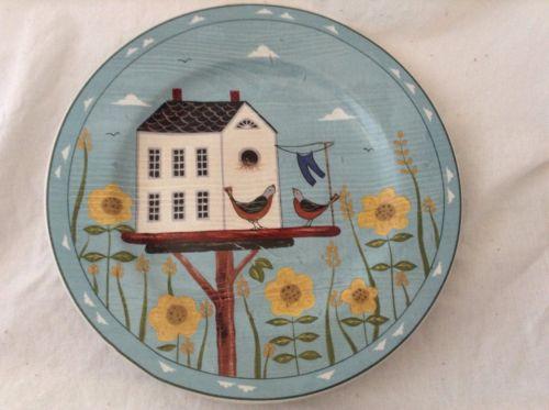 Sakura Stoneware Warren Kimble Birdhouse HOME YELLOW FLOWERS Salad  Plate 8-1/4