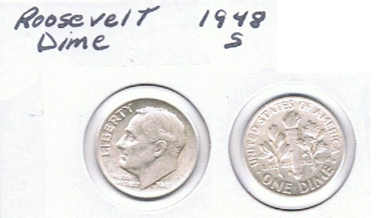 Roosevelt Dime 1948 S Circulated See Scan.