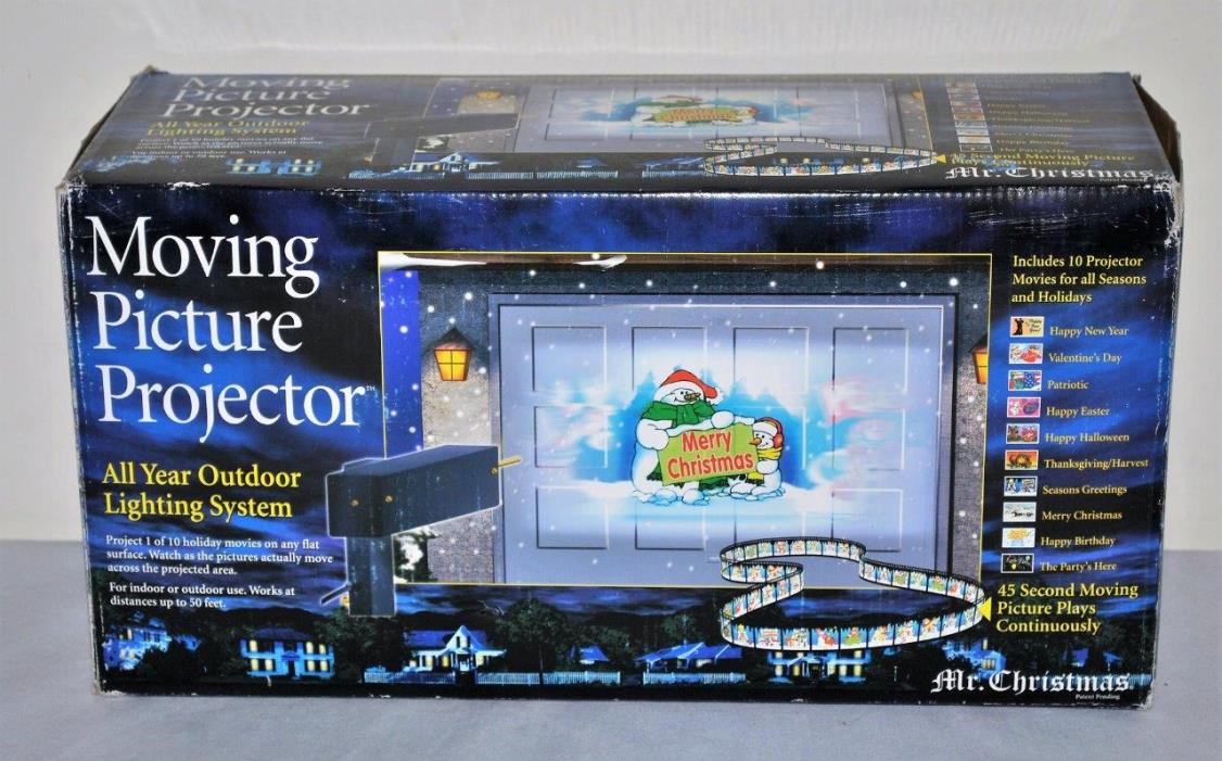 Mr Christmas Moving Picture Projector All Year Outdoor Lighting System 10 Movies