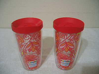 Tervis 16Oz  Floral Tumbler - ( Set Of 2 ) With Matching Lids