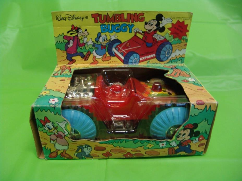 Mickey Mouse Tumbling Buggy Battery Operated with Box Vintage Walt Disney Toy
