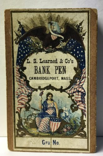 1860's Miss Columbia Patriotic Image on Learned & Co Bank Pen box, Cambridgeport