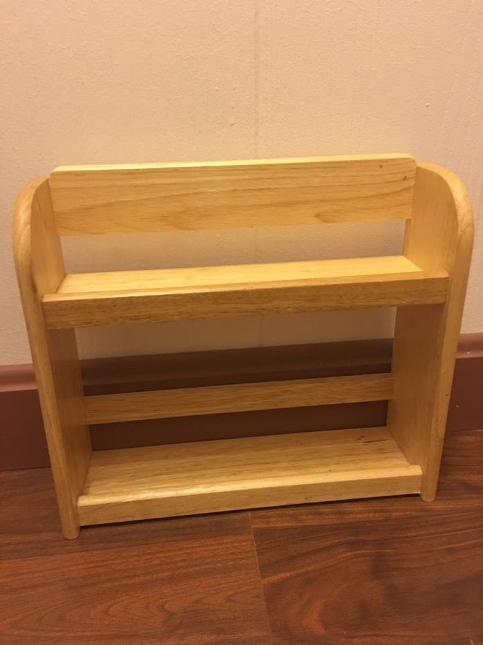 Solid Oak Wood 2-Tier Spice Rack Countertop Kitchen Organizer Space Saver Storag