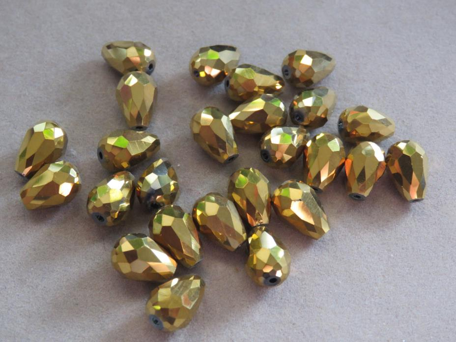 15 Gold 12x8mm Faceted Glass Beads(D12D)