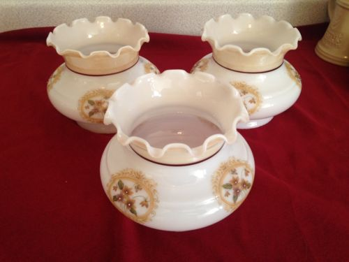 3 Vintage Mid Century Thistle Flower Milk Glass Shades, Fits 3.75