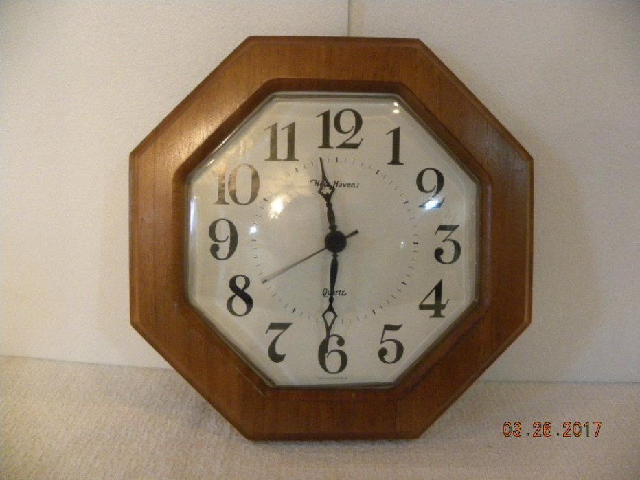 New Haven Wood Octagon Wall Clock