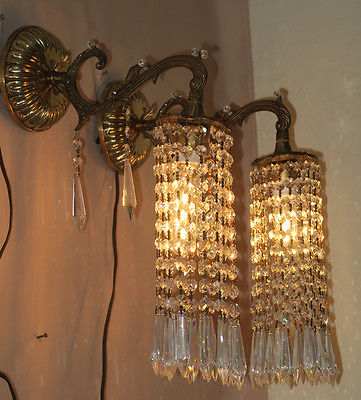 Pair Vintage Boudoir Sconces French Brass bronze fountain waterfall Crystal lamp