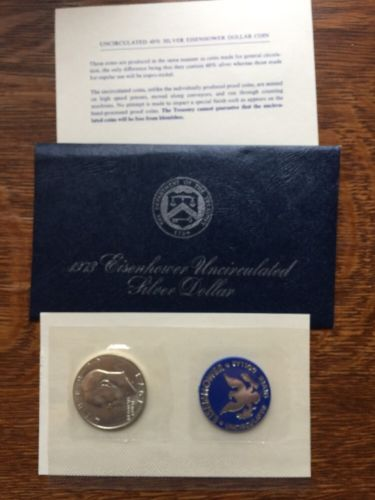 1973 Eisenhower Uncirculated Silver Dollar S 40% silver