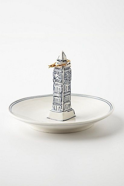 NIB Anthropologie MOLLY HATCH Landmark Big Ben Ring Dish Trinket Stoneware