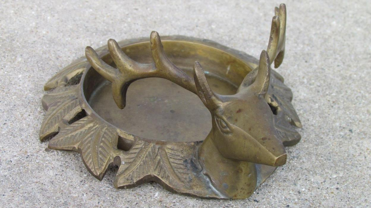 Vintage Brass Buck Deer Candle Holder Round Pillar