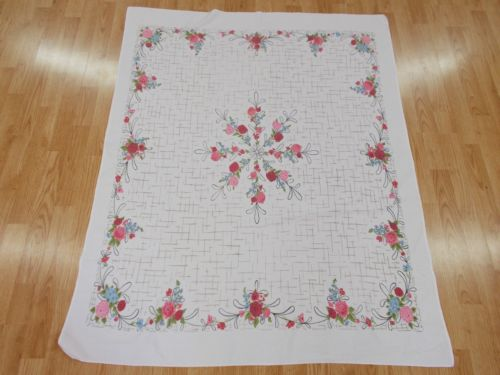 NICE Vintage Antique BLUE GREEN BLACK WHITE RED FLOWER 100% Cotton TableCloth