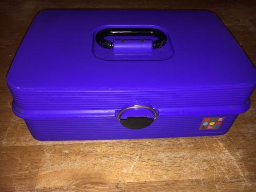Caboodles Make Up Jewelry Art Box Purple Craft Storage 2 Tray Organizer Case