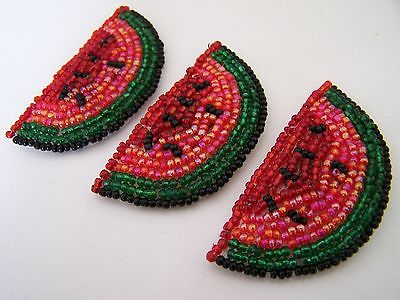 Beaded Watermelon Button Jewelry Adornment Covers - 3 Large