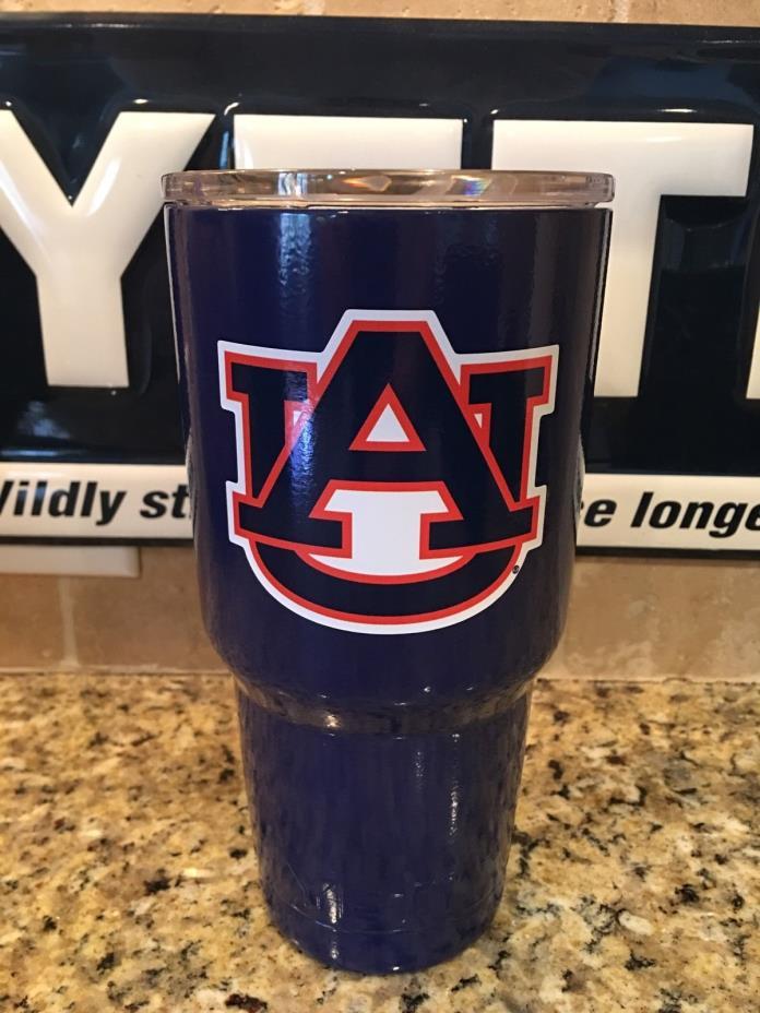 Auburn YETI Rambler Tumbler 30oz--Powder Coated Gloss Navy Blue-Auburn Tigers!