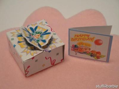 Barbie Kelly Doll House Diorama Birthday Baby-Home Decor - Gift Box & Card Set!