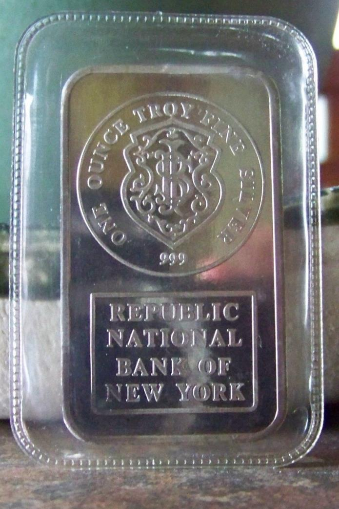 Republic National Bank of New York 1 oz silver art bar Johnson Matthey 1985