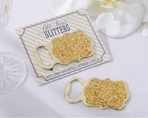 25 NEW Gold Glitter Bottle Opener Wedding Bridal Shower Party Favors Q35416