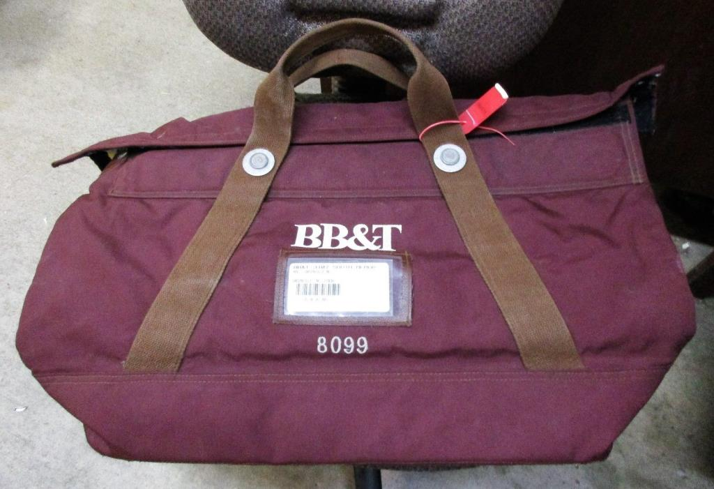 Vintage Rifkin Co Arcolock-7 Extra Large Burgundy Canvas BB&T Bank Deposit Bag
