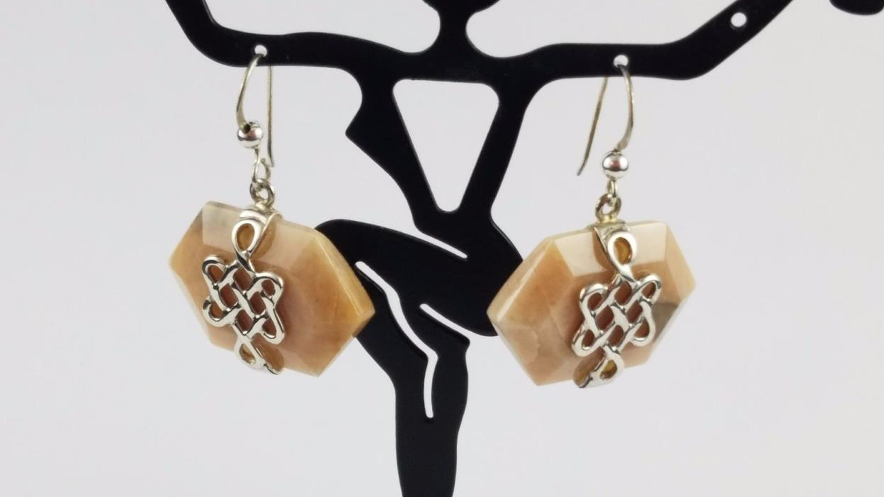 Southwest Desert Rose Trading Pink Jasper Drop Dangle Earrings Sterling Swirls